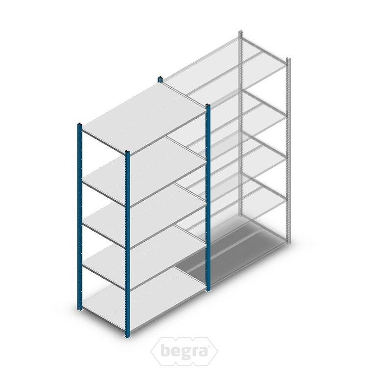 Fachbodenregal, Steckregal Metall Medium Duty 2000x1000x600, 5 Ebenen Blau, 180 kg Anfangabschnitt