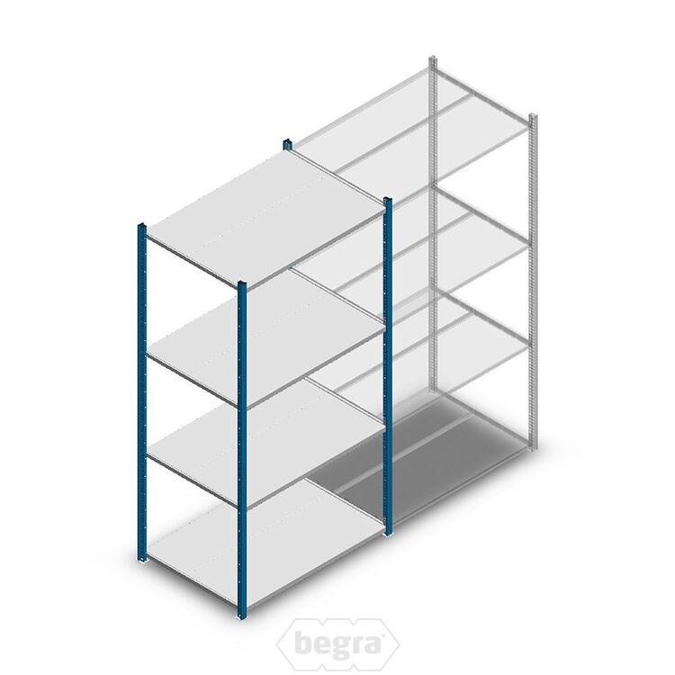 Fachbodenregal, Steckregal Metall Medium Duty 2000x1000x700, 4 Ebenen Blau, 180 kg Anfangabschnitt
