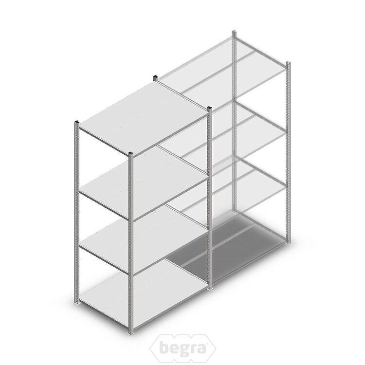 Fachbodenregal, Steckregal Metall Medium Duty 2000x1000x700, 4 Ebenen Verzinkt, 180 kg Anfangabschnitt