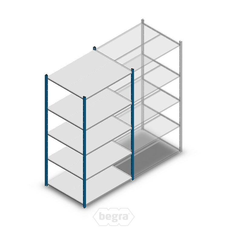 Fachbodenregal, Steckregal Metall Medium Duty 2000x1000x800, 5 Ebenen Blau, 180 kg Anfangabschnitt