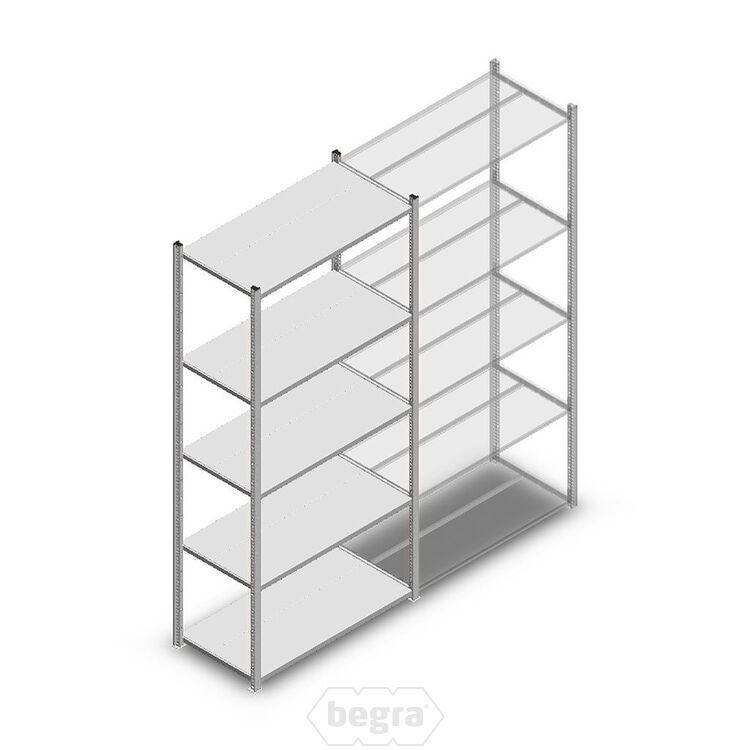 Fachbodenregal, Steckregal Metall Medium Duty 2200x1000x500, 5 Ebenen Verzinkt, 75 kg Anfangabschnitt