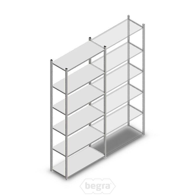 Fachbodenregal, Steckregal Metall Medium Duty 2500x1000x400, 6 Ebenen Verzinkt, 90 kg Anfangabschnitt