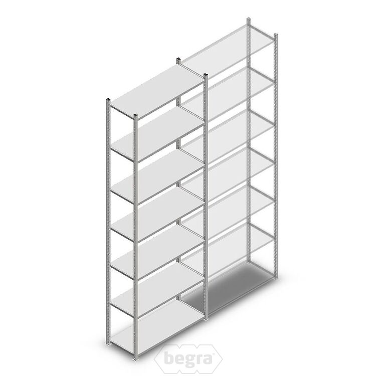Fachbodenregal, Steckregal Metall Medium Duty 3000x1000x400, 7 Ebenen Verzinkt, 90 kg Anfangabschnitt