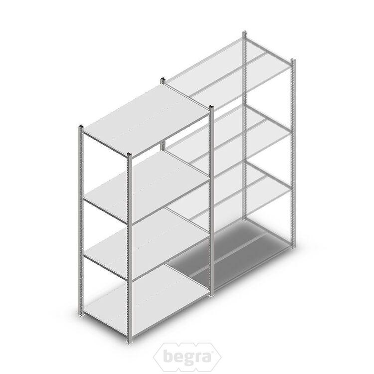 Fachbodenregal, Steckregal Metall Medium Duty 2000x1000x600, 4 Ebenen Verzinkt, 180 kg Anfangabschnitt