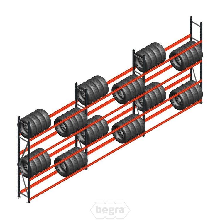 Angebot Reihe Weitspann Reifenregal  AR 2500x6240x400 mm (hxbxd) 3 Abschnitte 3 Ebenen Graau