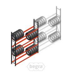 Reifenregal Weitspann AR 2500x2010x400 mm (hxbxd) 3 Ebenen Grau Anfangabschnitt
