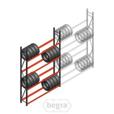 Reifenregal Weitspann AR 3000x2010x400 mm (hxbxd) 4 Ebenen Anthrazit Anfangabschnitt