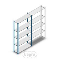 Fachbodenregal, Steckregal Metall Medium Duty 2000x1000x300, 5 Ebenen Blau, 90 kg Anfangabschnitt