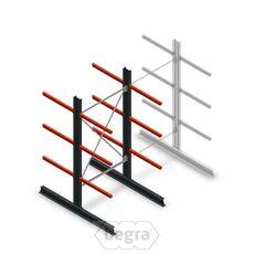 Medium Kragarmregal doppelseitig 2500 x 1250 x 800 Anfanssektion