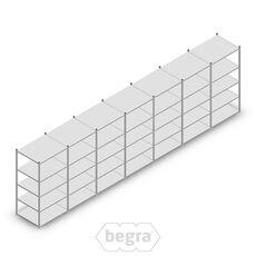 Angebot Reihe Fachbodenregal, Steckregal Metall Light Duty  2000x7000x800, 5 Ebenen Verzinkt 140 kg