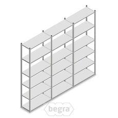 Angebot Reihe Fachbodenregal, Steckregal Metall Light Duty  2500x3000x400, 6 Ebenen Verzinkt 120 kg