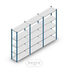 Angebot Reihe Fachbodenregal, Steckregal Metall Medium Duty 2000x3000x400, 5 Ebenen Blau 90 kg