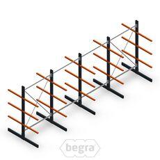 Angebotsreihe Leichte Kragarmregale doppelseitig 2000x5000 Armlänge 600 mm, 3 Ebenen