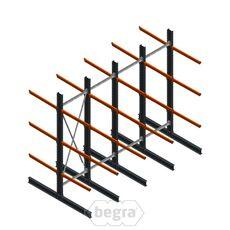 Angebotsreihe Schweres Kragarmregal doppelseitig 4000x4890 mm (hxb) Armlänge 1200 mm - 3 Ebenen