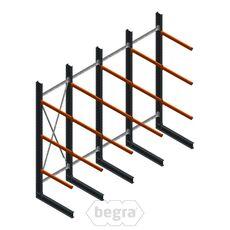 Angebotsreihe Schweres Kragarmregal einseitig 4000x4890 mm (hxb) Armlänge 1200 mm - 3 Ebenen