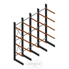 Angebotsreihe Schweres Kragarmregal einseitig 5000x4890 mm (hxb) Armlänge 1200 mm - 4 Ebenen